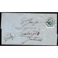 F.21, 12 öre Ringtyp T.14, RONNEBY 12-12-73 [K/BL], vackert brev till Ljungby