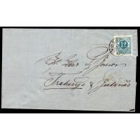 F.21, 12 öre Ringtyp T.14, RONNEBY 29-12-75 [K/BL], vackert brev till Traheryd