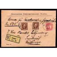F.58+82, 30+10 öre Oscar II & Gustaf V i medaljong, KLIPPAN 7-6-12 [L/SK], blandfrankerat assurerat brev 545 kr till Röstånga