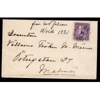 F.179A, 20 öre Gustaf V profil vänster, KASTBERGA 24-10-21 [K/BL], brev till Malmö