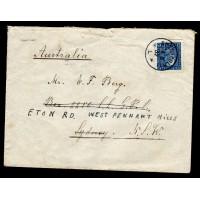 F.183a, 25 öre Gustaf V profil vänster, STOCKHOLM 14-8-32, brev till Australien