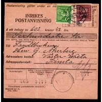 F.162mfl, 60 öre Postemblem typ I, STOCKHOLM 29-1-22, postanvisning