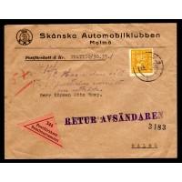 F.157, 35 öre Postemblem typ II, MALMÖ 26-1-28, postförskott som gått i retur