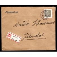 F.192, 50 öre Gustaf V profil vänster, GÄVLE 19-3-3X [X/GÄ], rekommenderat brev