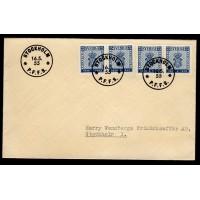 F.467-468DD1+DD2, 25 öre Svenska frimärket 100 år, STOCKHOLM 16-5-55, FDC