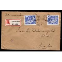 F.250, 25 öre Postverket 300 år, LENNARTSFORS 21-5-36 [S/VÄR], rek