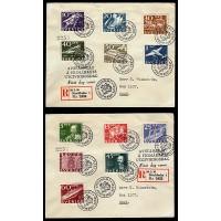 F.246-257, Postverket 300 år, STOCKHOLM 20-2-36, på två FDC