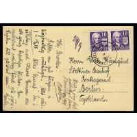 F.259CB, 10 öre Swedenborg, SASNITZ-TRELLEBORG 28-8-3X [AC/L], vykort till Tyskland