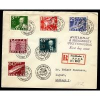 F.246-257, Postverket 300 år, STOCKHOLM 20-2-36, första dagen, 3 brev