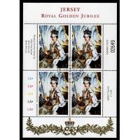 Jersey - SG.1029BL, £3 Guldjubileum stämplat 4-block