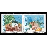 F.1607+1608SX, 3.80 kr Europa XIX. Postbyggnader
